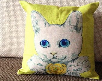 "Designer Linen Pillow - beige yellow retro cat Pillow Cover - 18"" /45 cm Decorative Cushion Cover Throw Pillow Animal Pillow 107"