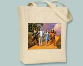Vintage Wizard Of Oz Yellow Brick Road Movie Poster Natural or Black Canvas Tote -- Selection of  sizes available