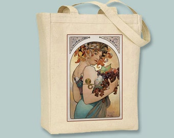 Fruit, Alphonse Mucha Illustration Natural or Black Canvas Tote - Selection of  Sizes Available