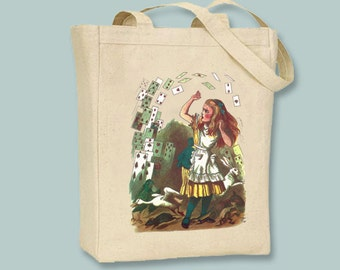 Alice in Wonderland Attack of the Cards Canvas Tote - Selection of sizes available