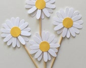 Cardstock -  25 PCS White Daisy Cupcake Topper - Daisy Flower Cupcake Toppers, Baby Shower, Bridal Party, Birthday, Wedding