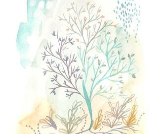 Tree of Life print watercolor painting of tree small blue and ochre print tree art