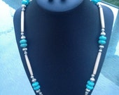 """Made-to-order, 24"""" Native-inspired necklace/earrings set with squash blossom howlite beads, bone hairpipe, and metal spacers"""
