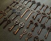 76 Skeleton Keys Antique Copper Key Charms Copper Skeleton Key Pendants Bulk Key Charms - Keys To The Kingdom