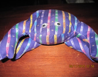 Theraputic (hot or cold) Purple Multi Color Striped Frog,Home Decor,Table Top,Mantle...HAND MADE..OOAK...Orginial Design