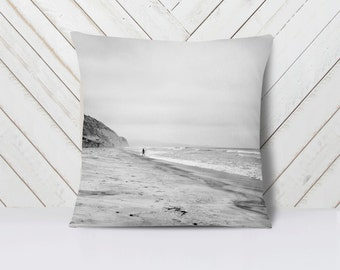 Surfer Pillow, Beach Throw Pillow, Beach Home Decor, Black and White San Diego Torrey Pines - 16x16, 18x18, or 20x20 Pillow or Pillow Cover