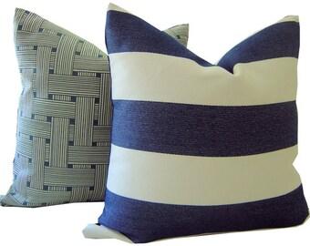 Navy Outdoor Pillow - Striped Navy Pillow - Outdoor Pillow - Decorative Pillow - Sunbrella Pillow - Outdoor Toss Pillow - Navy Throw Pillow