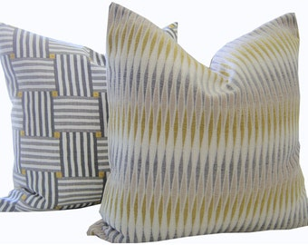 Chenille Pillows - Grey Pillows - Yellow Pillow - Chenille Shams - Square Pillow - Grey Toss Pillow - Chenille Pillows - PILLOW COVER ONLY