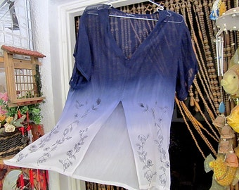 Embroidered Semi-Sheer Tie Dyed Blouse with Front Slit, Vintage - Medium to Large