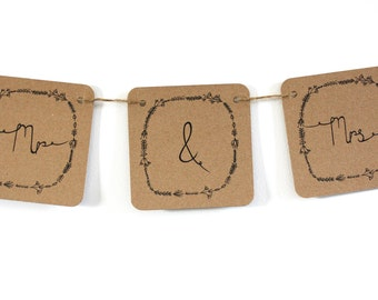 Mr and Mrs woodland wedding bunting