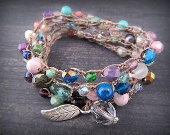 Multi Color Wrap Bracelet , necklace, Czech beads, semi precious gemstones, Bohemian Crochet Jewelry