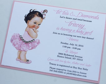 Tutus and Diamonds Baby Shower Invitation