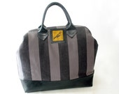 Raven Print Mason Bag, Doctor Bag, Handmade, Striped Linen and Leather, Macabre Tim Burton Style