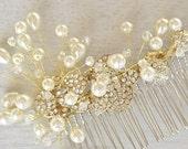 Gold vine hair piece, Wedding Pearl Hair Piece, Vine hair piece, Bridal Hair Comb, Vintage wedding, Large Pearl Comb, Bride Hair Accessory