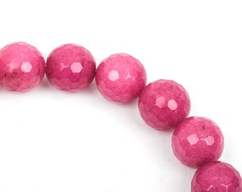 12mm Round Faceted RASPBERRY PINK JADE Gemstone Beads, full strand gjd0087