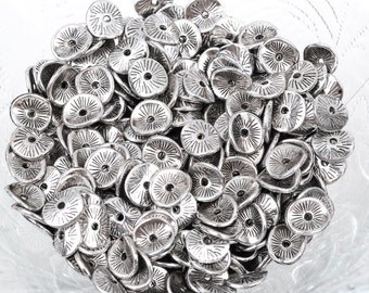 25 Silver Plated Curved Metal Spacer Beads, 10x8mm, bme0355