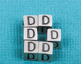 Alphabet LETTER D Sterling Silver Alphabet Block Bead, Square Cube, 4.5mm, pms0308