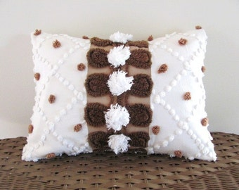 CHOCOLATE brown polka dots pillow cover, chenille cushion cover, brown vintage chenille pillow case