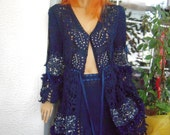 dark blue long cardigan skirt outfit handmade crochet lace romantic embroidered beaded gift idea for her women clothing by goldenyarn