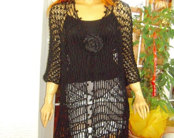 MADE TO ORDER jacket handmade net long cardigan/black happy size asymmetrical sparkle transparent cover up gift idea for her by golden yarn
