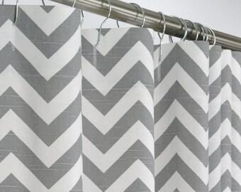 "Gray Chevron Shower Curtain - Grey & White - Extra Long - 72"" Wide x 72, 78, 84, 90, 96 Long"