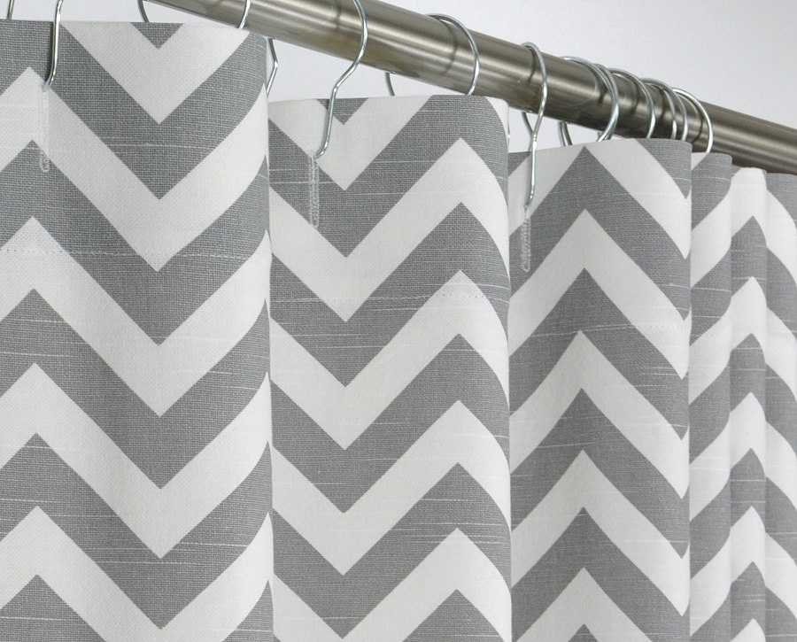 Gray Chevron Shower Curtain Gray White Extra Long By PondLilly