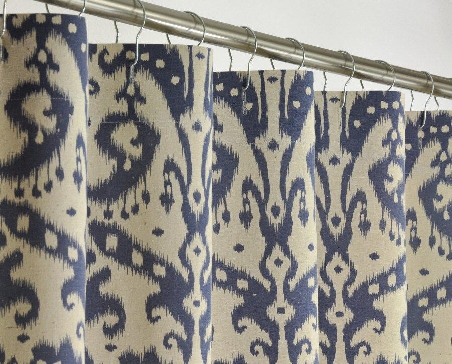 Navy Ikat Shower Curtain 72 X 78 Long Extra Long By PondLilly