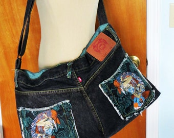 "SALE!!! Asian ""FISH"" Black Denim MARKETBAG/Tote / Cross-Body Bag / Ooak /  6 Pocket / Embroidered-Turquoise Lined Upcycled Jeans - Great Gft"