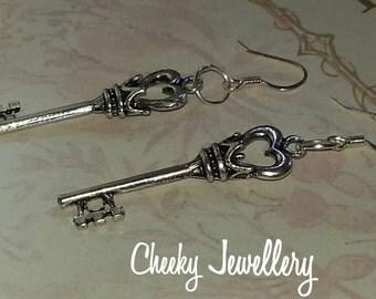 Ladies pendant key earrings