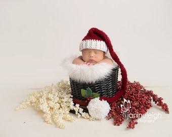 Holiday Hat, Newborn Santa Hat, Christmas Photo Prop, Infant Santa Hat, Crochet Baby Hat, Newborn Xmas Hat, Newborn Pom Pom Hat,Baby Elf Hat