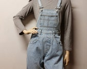 Vintage 80s  Denim Shortalls/Overalls Shorts - Sz  Small