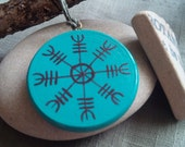 Aegishjalmur The Helm of Awe Pagan Hand Painted Wood Pendant
