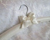 Ivory Chantilly Lace and Ivory Satin Padded Bridal Wedding hanger with choice of Bow Bridesmaid Hanger