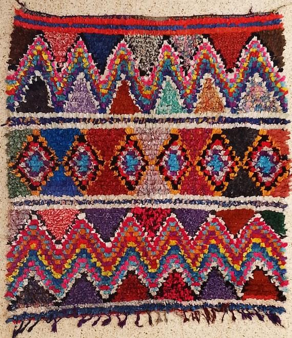 L19004 Vintage Boucherouite Rug Moroccan Rugs Rag Rug