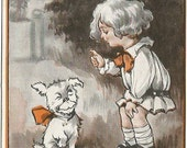 "Little Girl Scolding Puppy Dog Fido ""Dogs Don't Go To Heaven, Fido, So Be As Bad As You Like!"" Comic, Humor Vintage Postcard"