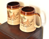 Vintage Beer Steins Coffee Mugs Set Pair Hunter Nature Woodland Scene Deer & Trees Japanese Painting Brown Fire Glazed Stoneware