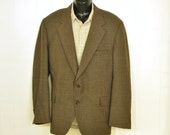 Vintage Mens Blazer Jacket 46 X Long Brown Black Gray Rust Hounds Tooth Plaid Corporate Business Fashion Big & Tall Man