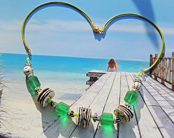 """Ethnic necklace """"World Tour"""" pearl Quartz Emeralds mattes Russians"""