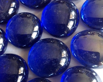Mosaic Tiles 1lb Dark Cobalt Blue Shiny 14mm Glass Gems Jewelry Designer Art FREE SHIPPING