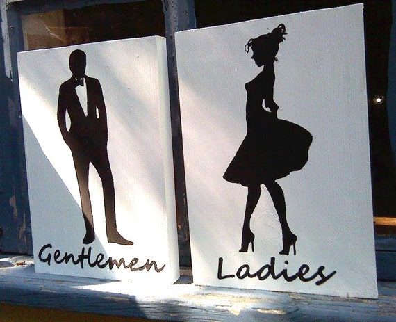 Ladies And Gentlemen Restroom Facility Signs By Greenchickens