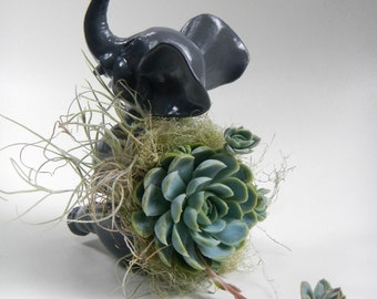 Succulent Planter Centerpiece - Dark Grey Elephant Animal Planter - Desk Accessory - Valentine Gift