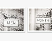 Bathroom Photography Set, Women Men Sign Photography, Bathroom Black and White Photos, Grey Bath Wall Art, Gray Bathroom Decor, Bathroom Art