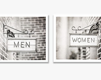 Bathroom Photography Set, Women Men Sign Photography, Bathroom Black and White Photos, Grey Bath Wall Art, Gray Bathroom Decor, Bathroom Art
