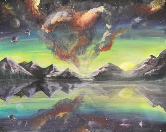 Mountains in Space Original Acrylic Painting