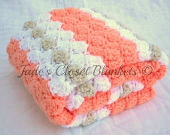 Crochet Baby Blanket, Baby Blanket, Crochet Peach Baby Blanket, Peaches and Cream, Peach, White, and Off White, travel size