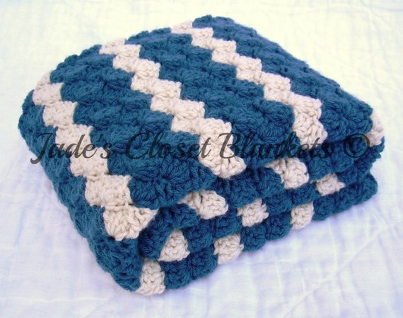 Crochet Baby Blanket, Baby Blanket, Crochet Blue Baby Blanket, Cape Cod Blue and Cream Waves, travel size