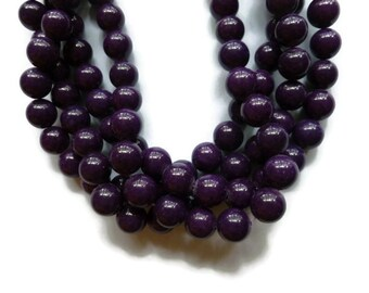 Purple Grape Mountain Jade - 10mm Round - Full Strand - 41 beads
