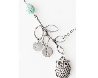 mom necklace, grandma gift sister, gift for mom jewelry, personalized best friend necklace, mommy necklace, owl necklace, friendship jewelry