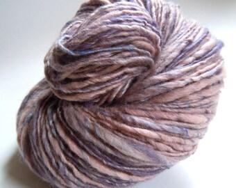 Purple Haze Single Ply Handspun Naturally Dyed Logwood BFL Silk Yarn 125g