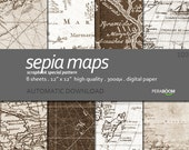 "Digital Paper + 100_Sepia Maps + Scrapbook Quality Paper Pack  (12x12""- 300 dpi)  8 sheet pack paper  + Instant Download +"